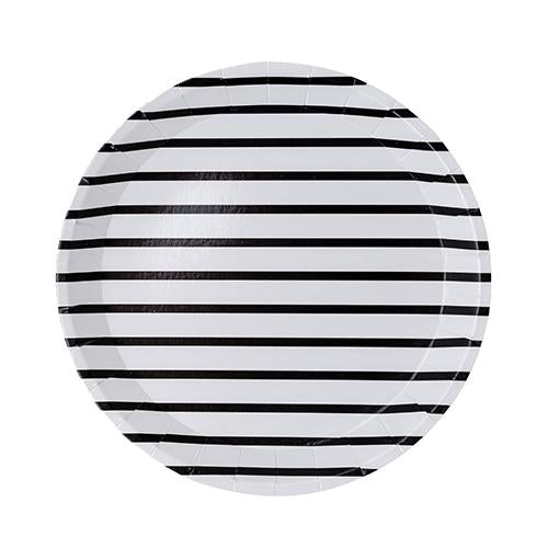 Black and White Stripe Dessert Plates