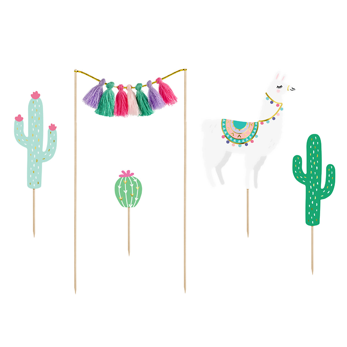 Boho Llama Fun Cake Toppers 5ct | The Party Darling