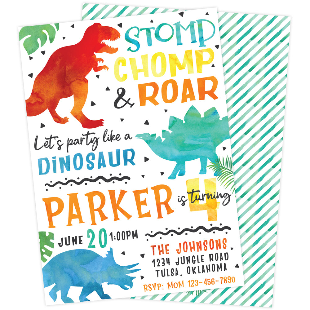 Dino-Mite Birthday Party Invitation | The Party Darling