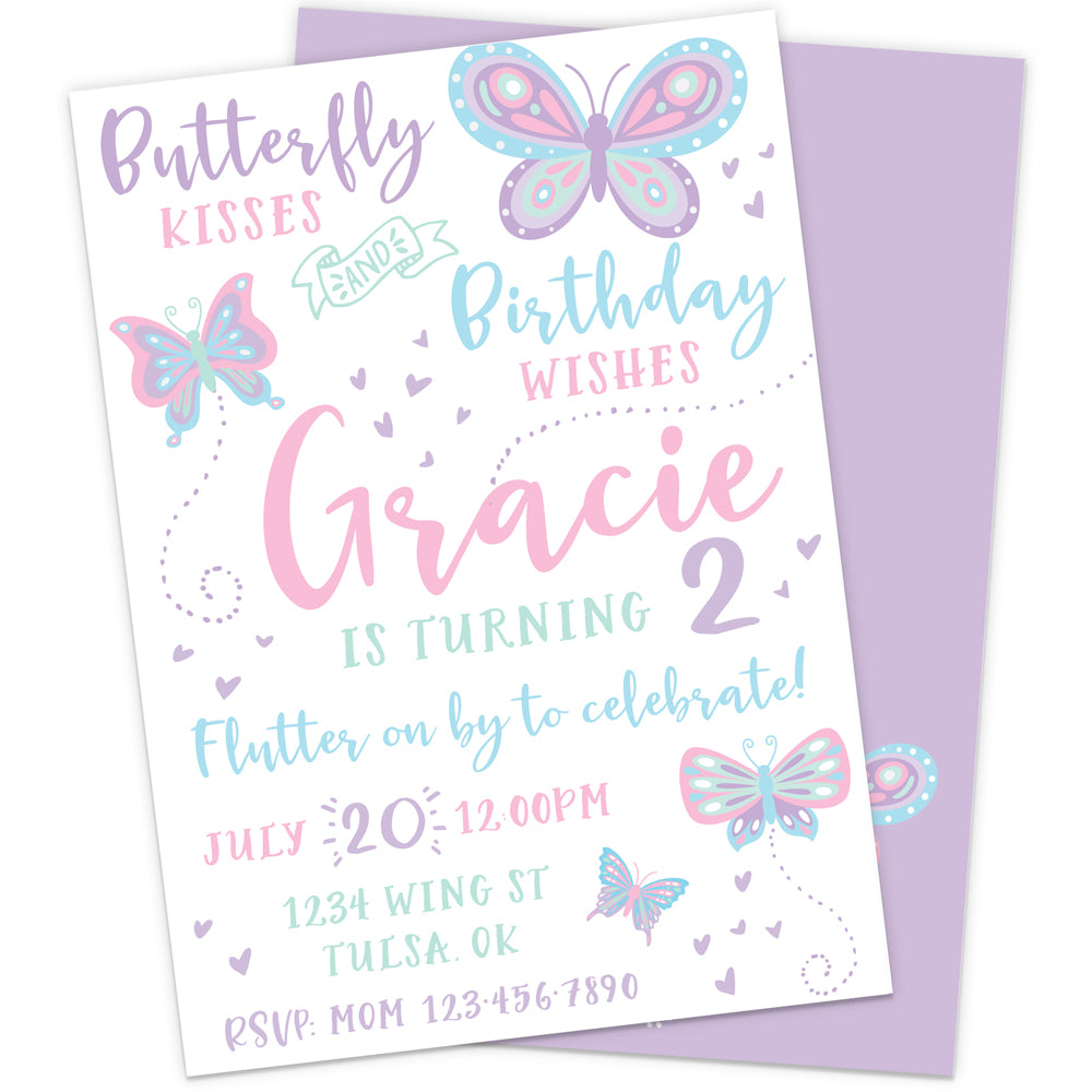 Fluttering Butterfly Birthday Party Invitation