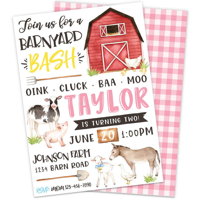 Pink Farm Birthday Party Invitation | The Party Darling