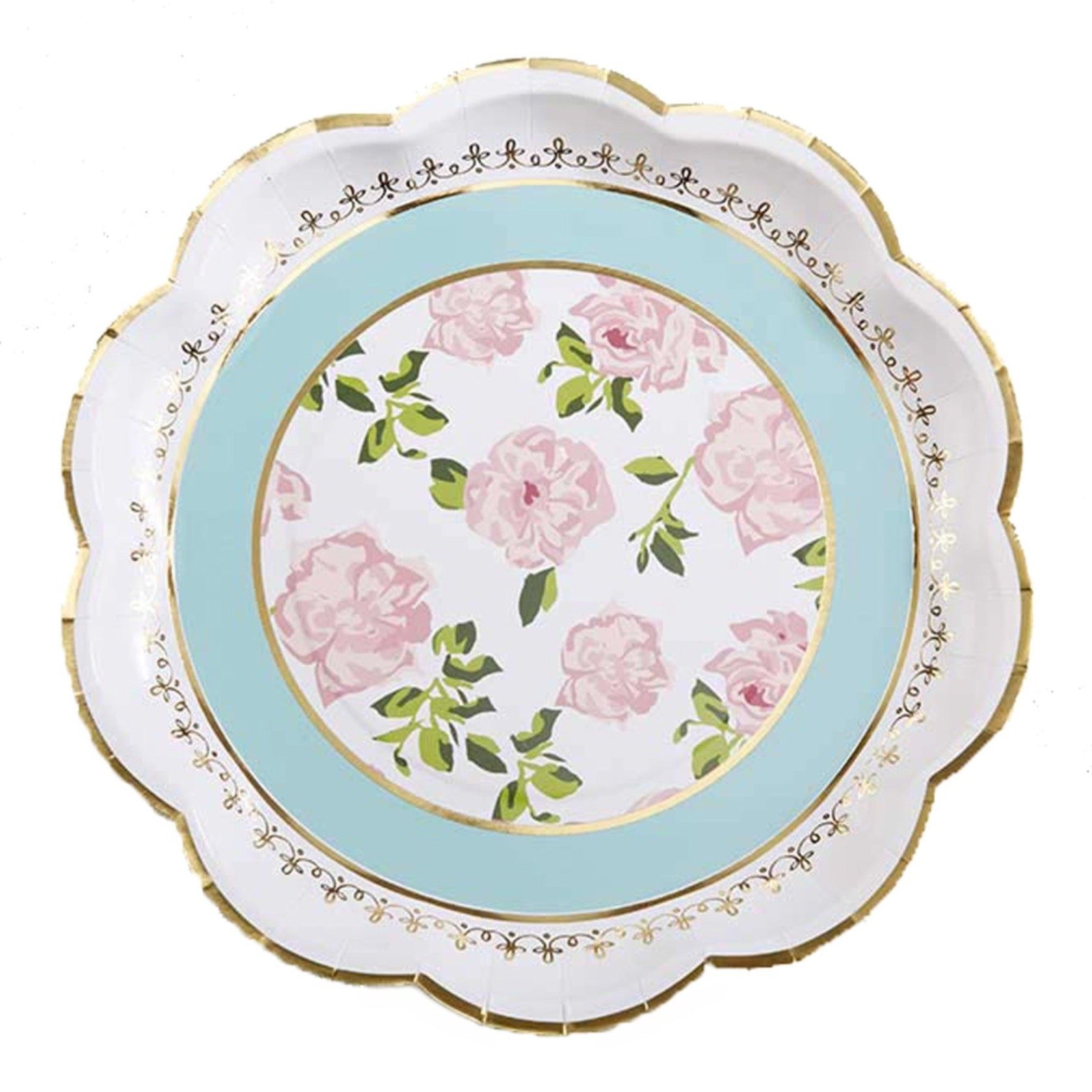 Blue Floral Tea Time Lunch Plates