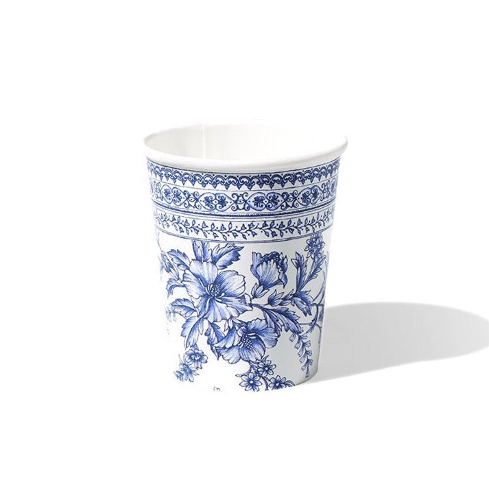 Blue & White French Toile Paper Cups 10ct | The Party Darling