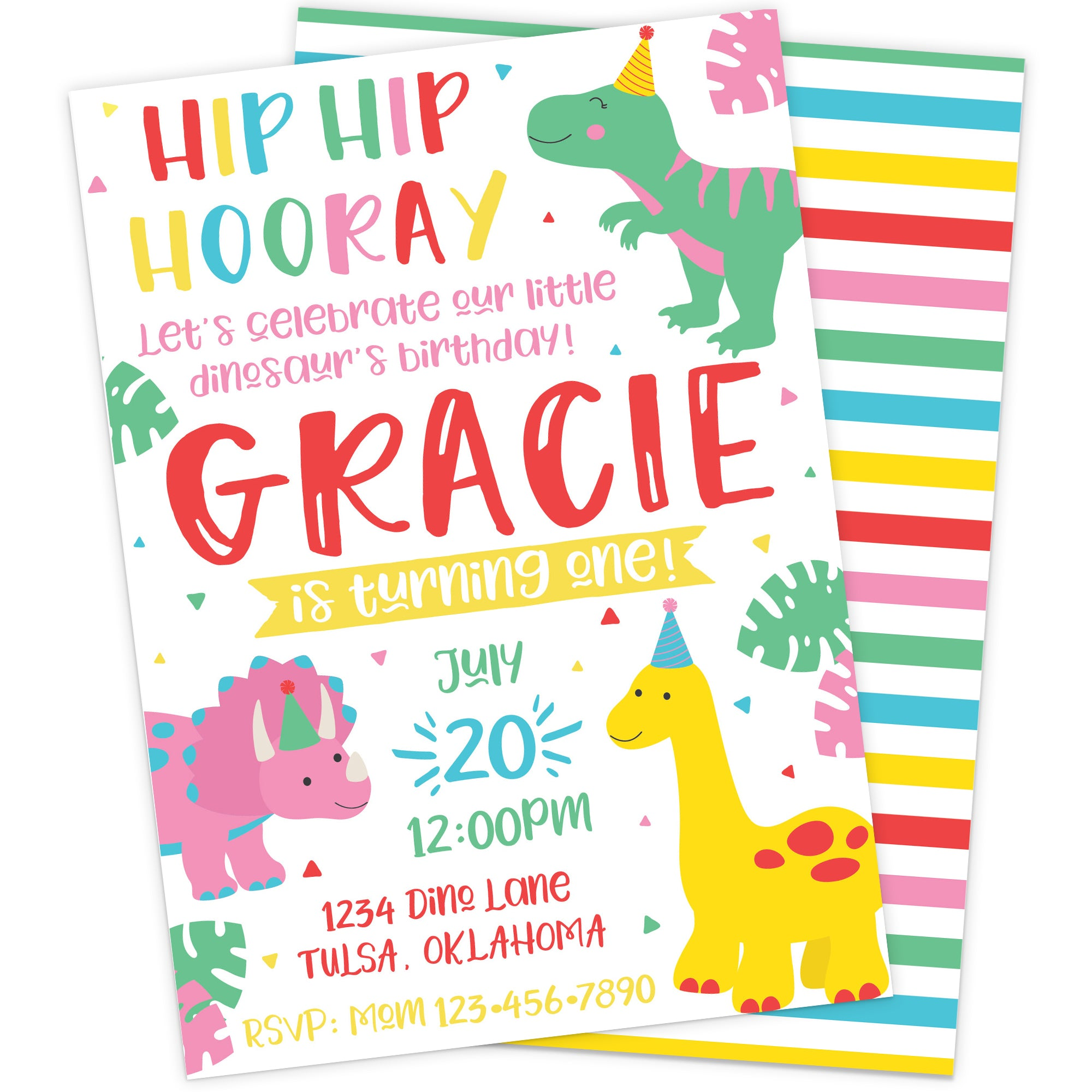 Personalized Girl Dinosaur Birthday Invitation | The Party Darling