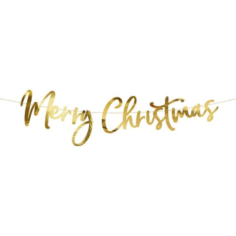 Gold Merry Christmas Cursive Letter Banner | The Party Darling