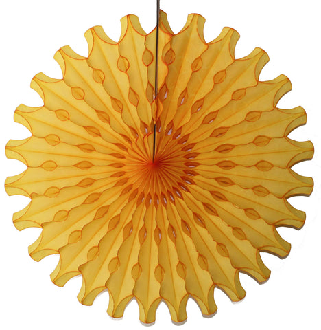 "18"" Yellow Tissue Paper Fan 