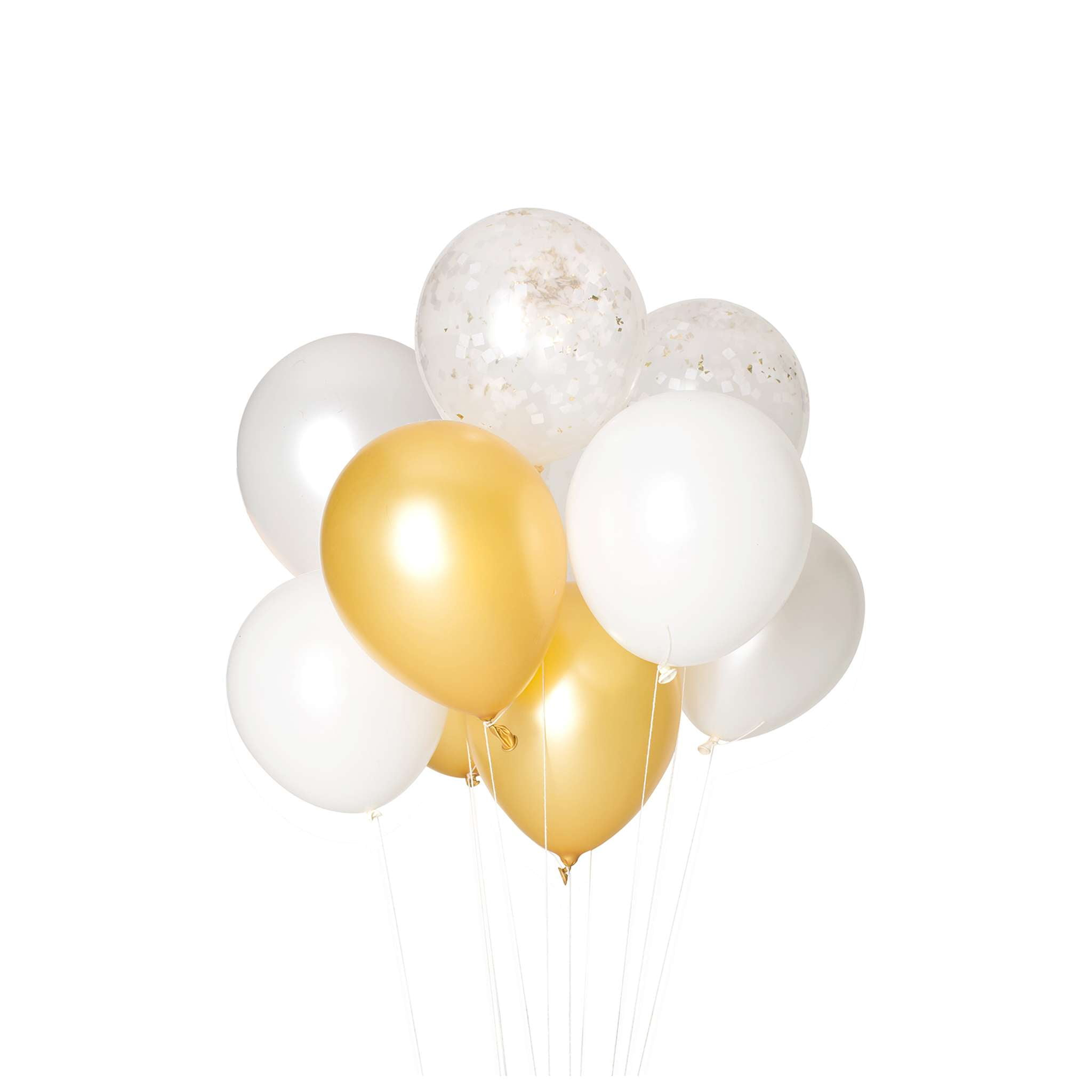 Gold and White Classic Balloon Bouquet
