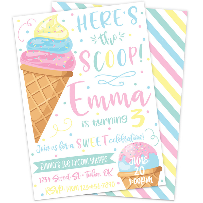 Here's the Scoop Ice Cream Printable Party Invitation | The Party Darling