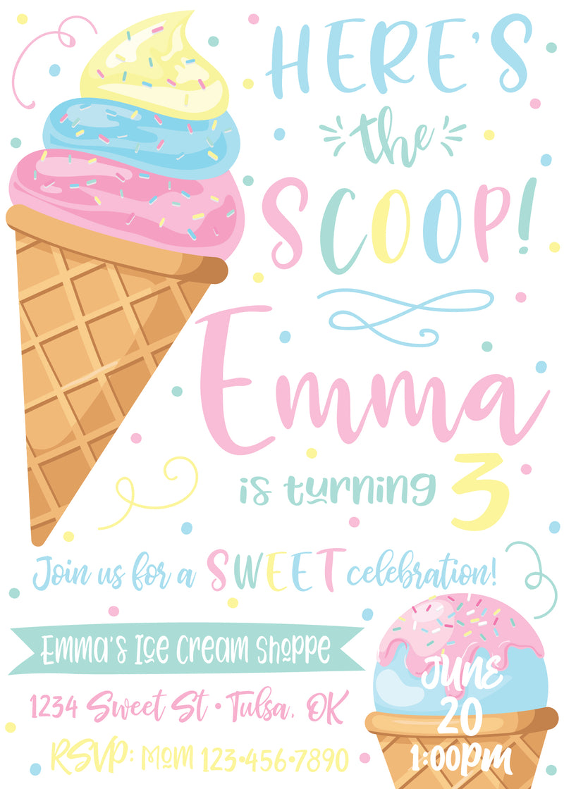 Here's the Scoop Ice Cream Party Invitation - Front