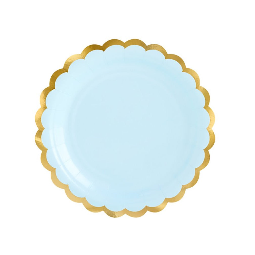 Light Blue Gold-Trimmed Scalloped Dessert Plates | The Party Darling