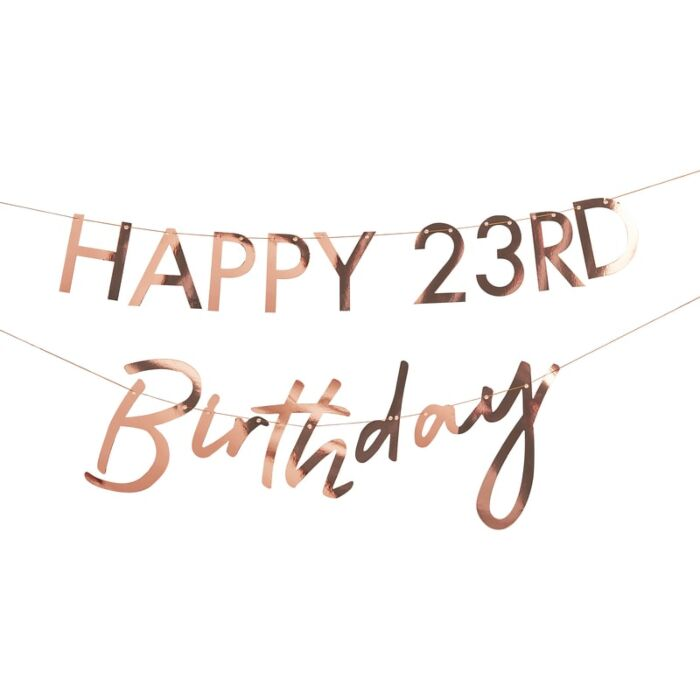 Rose Gold Happy Birthday Banner Kit | The Party Darling