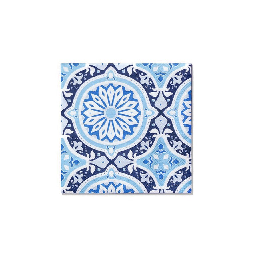Mediterranean Blue Beverage Napkins 25ct | The Party Darling