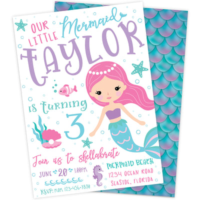 Friendly Mermaid Birthday Party Invitation