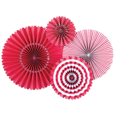 Red and White Paper Fan Decorations