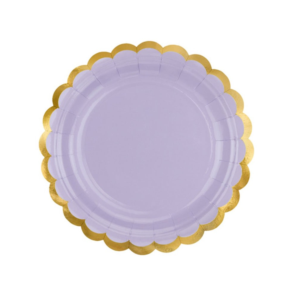 Purple Gold-Trimmed Scalloped Dessert Plates | The Party Darling