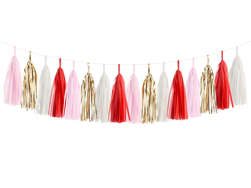 Red, Pink, White, & Gold Tassel DIY Garland Kit | The Party Darling