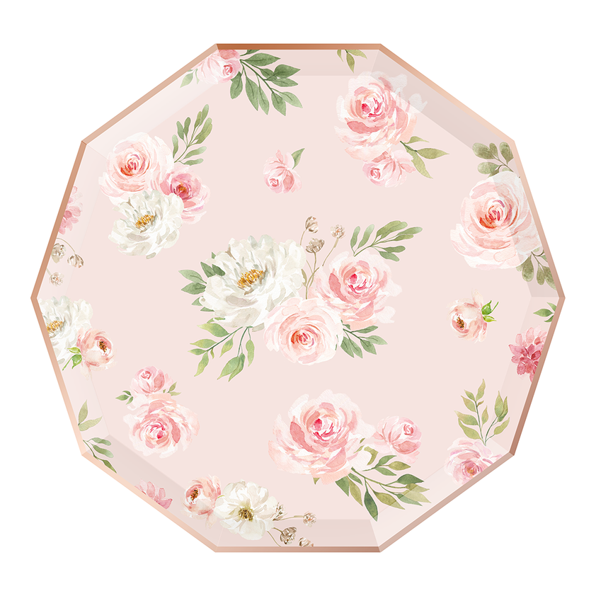 Rose Gold Floral Dinner Plates 8ct | The Party Darling