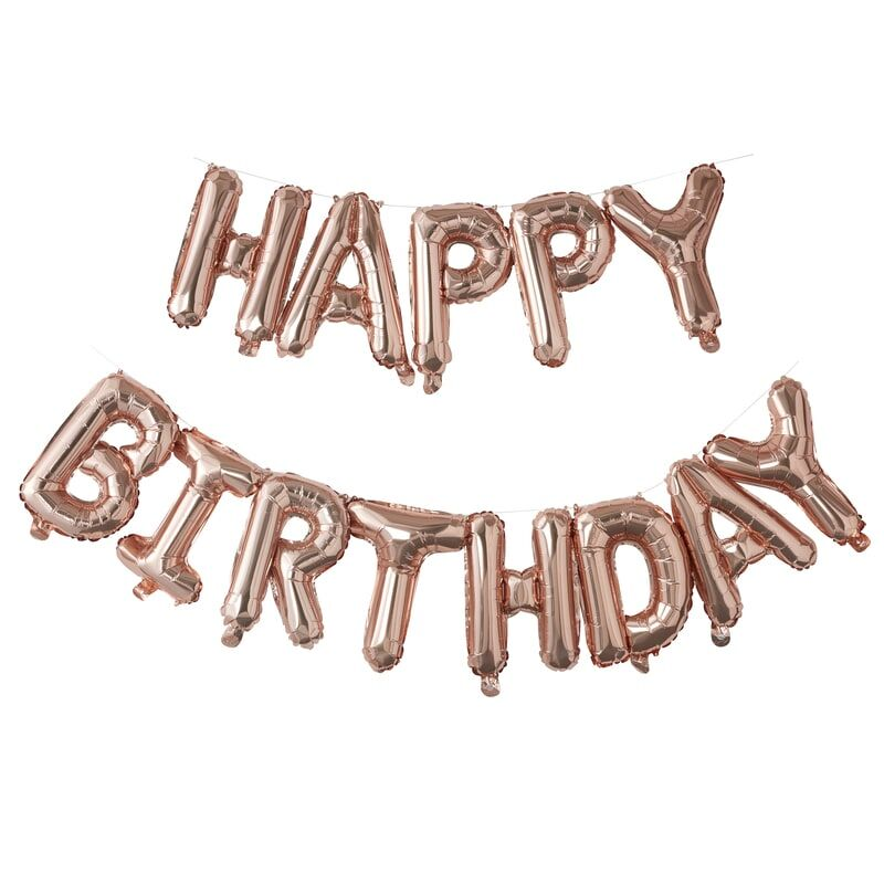 Rose Gold Happy Birthday Balloon Banner | The Party Darling