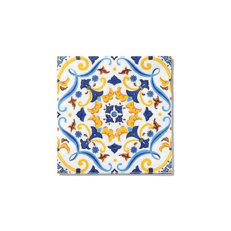 Spanish Yellow & Blue Cocktail Napkins 25ct | The Party Darling