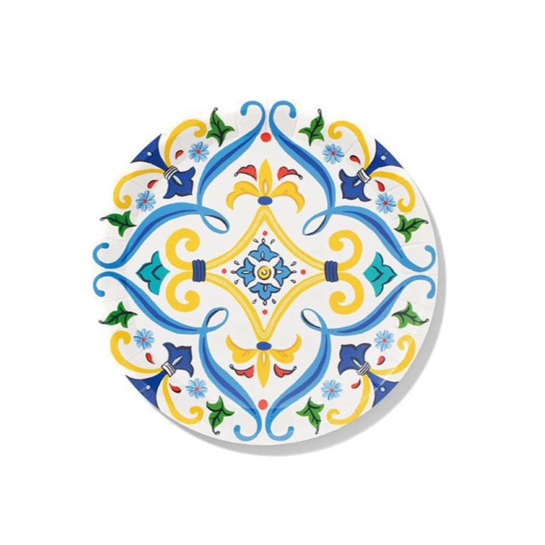 Spanish Yellow & Blue Paper Dessert Plates 10ct | The Party Darling