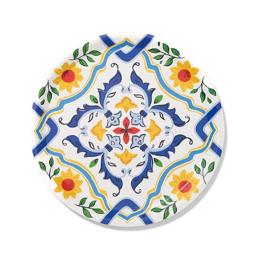 Spanish Yellow & Blue Paper Lunch Plates 10ct | The Party Darling