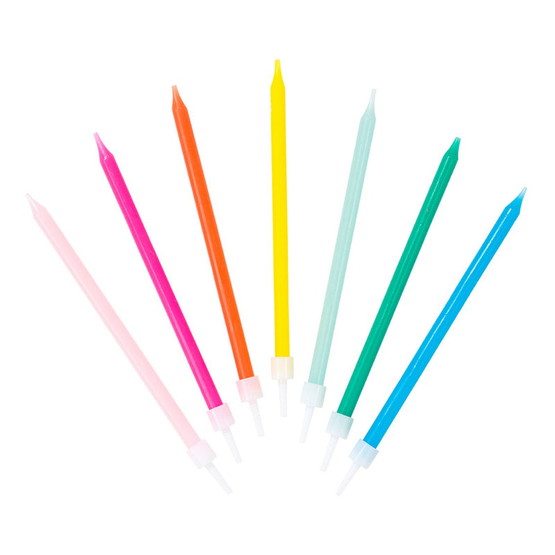 Tall Rainbow Birthday Candles Assorted | The Party Darling