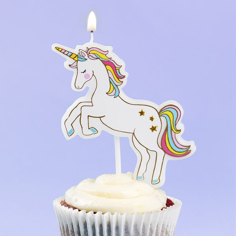 Rainbow Unicorn Birthday Candle
