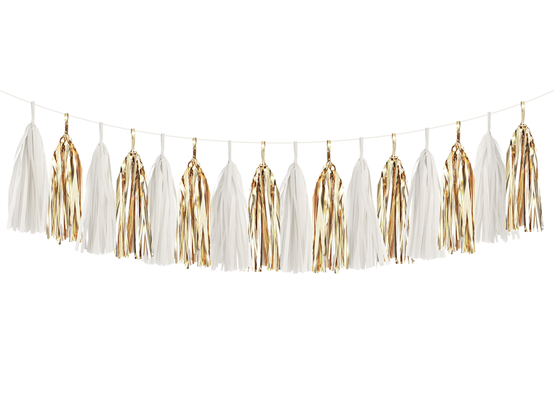 White & Gold Tassel Garland Kit | The Party Darling