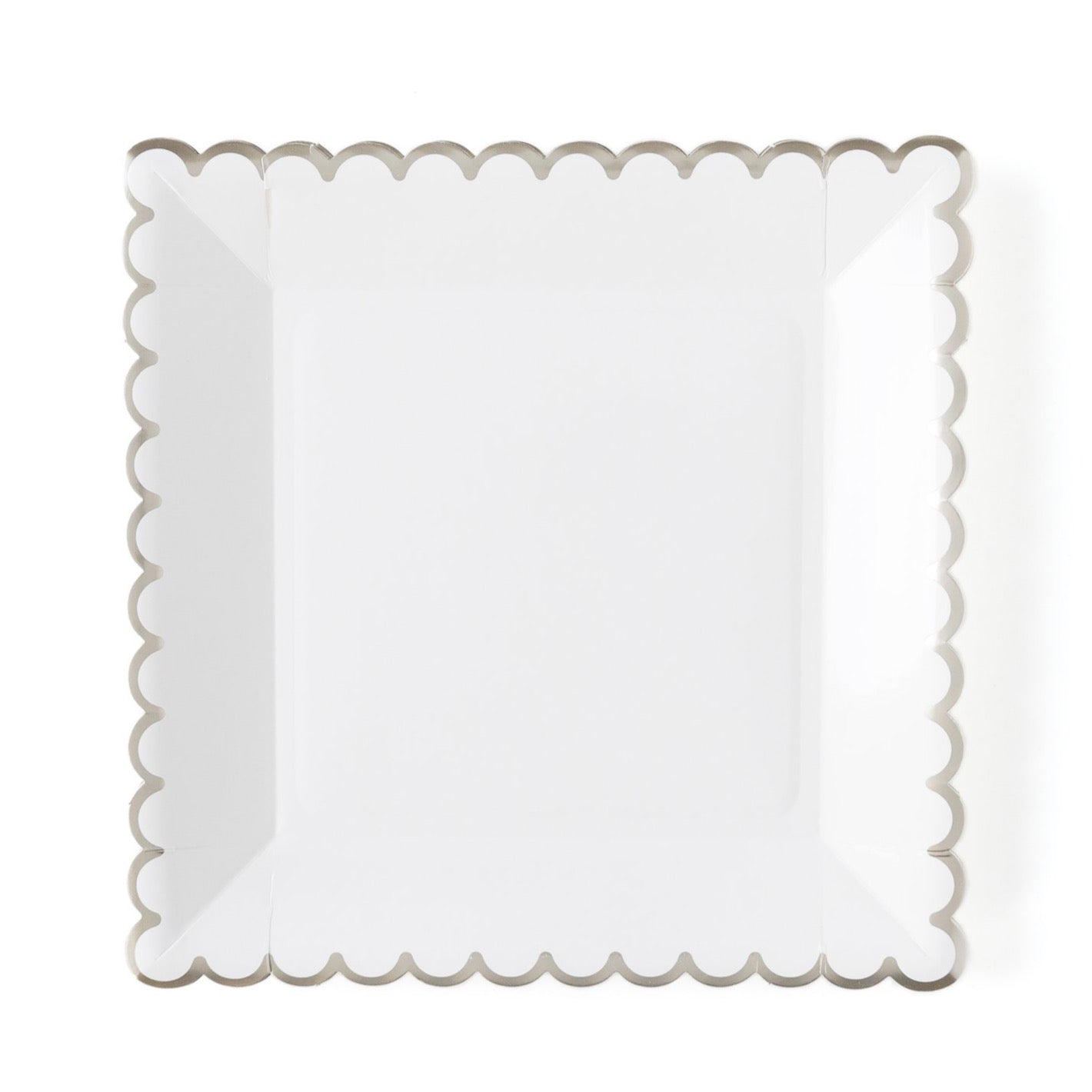 Winter White Scalloped Square Lunch Plates | The Party Darling