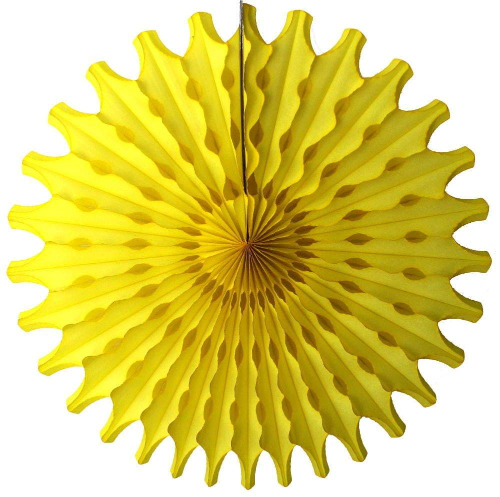 "18"" Yellow Tissue Paper Fan"