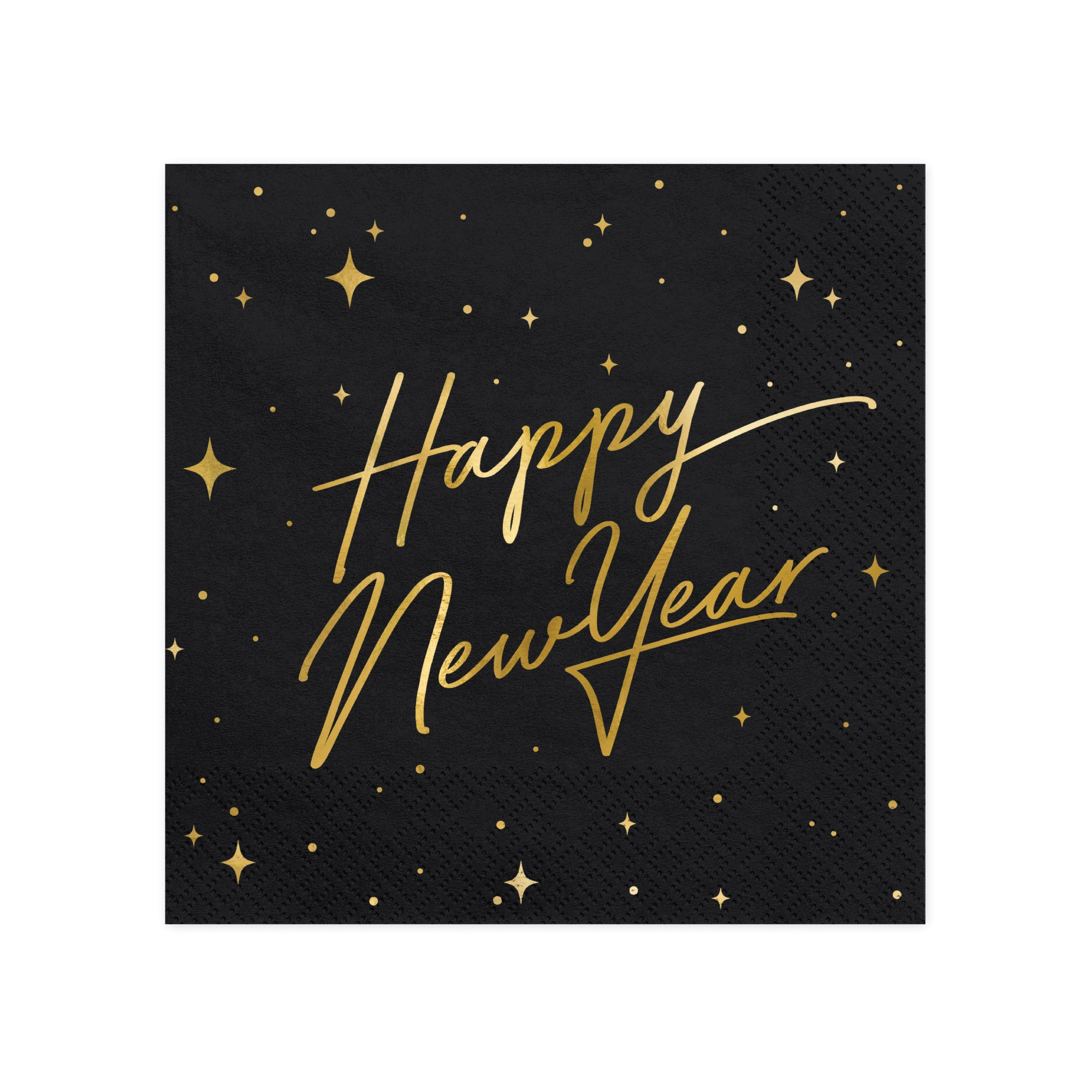 Black & Gold Happy New Year Lunch Napkins
