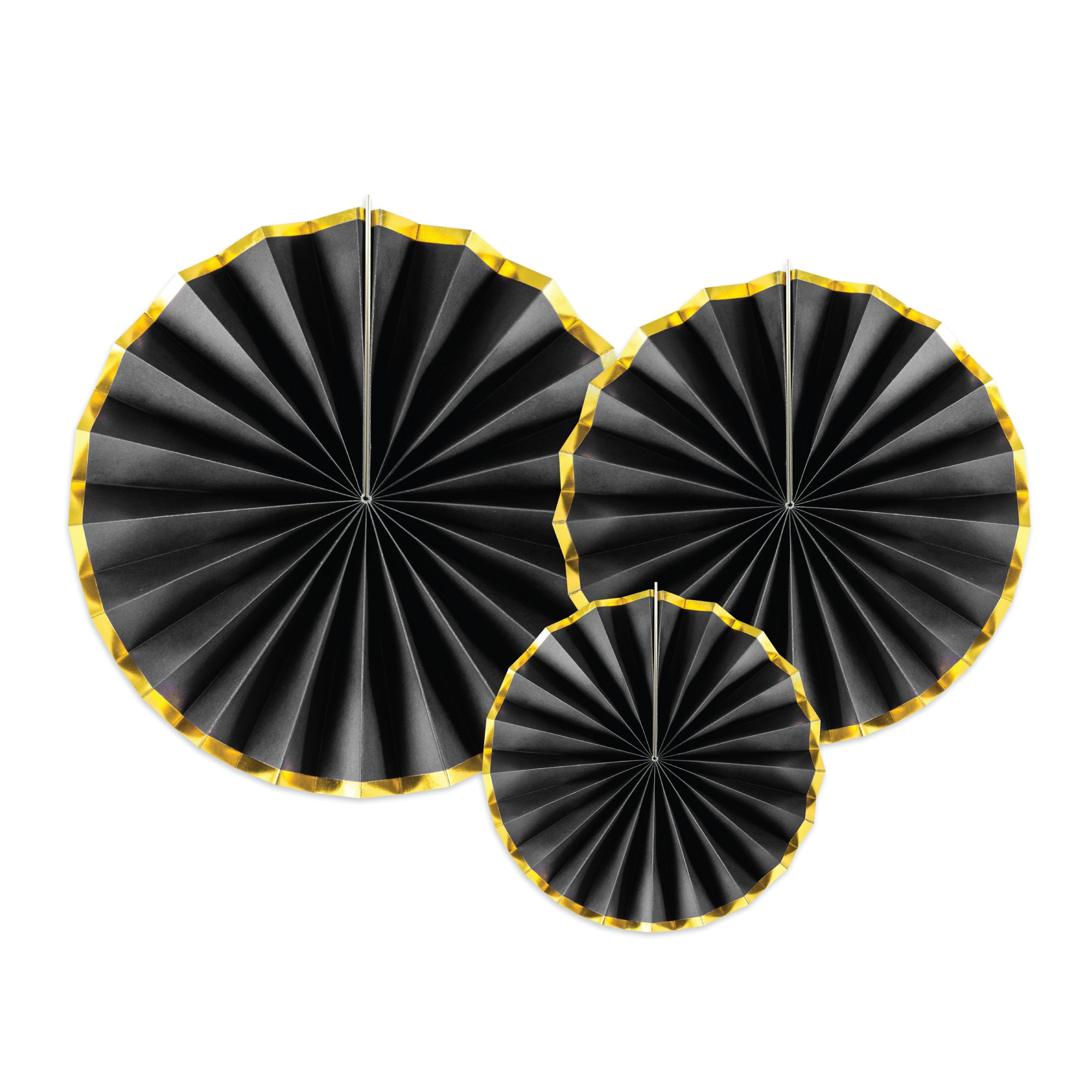Black & Gold Paper Fan Decorations | The Party Darling