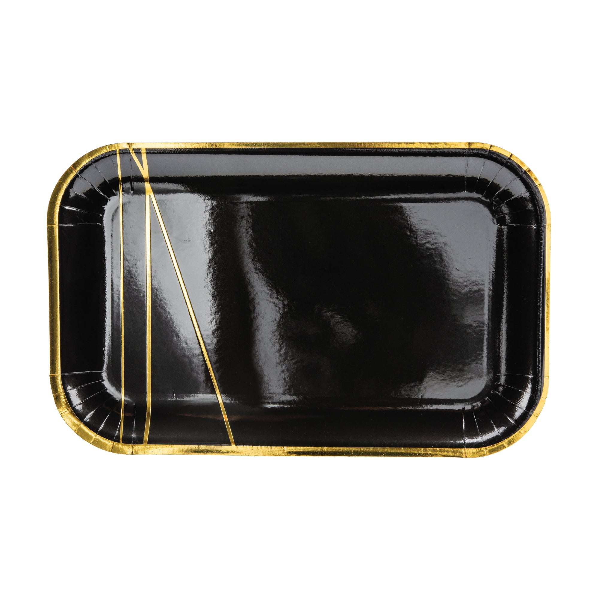 Black & Gold Rectangle Dessert Plates