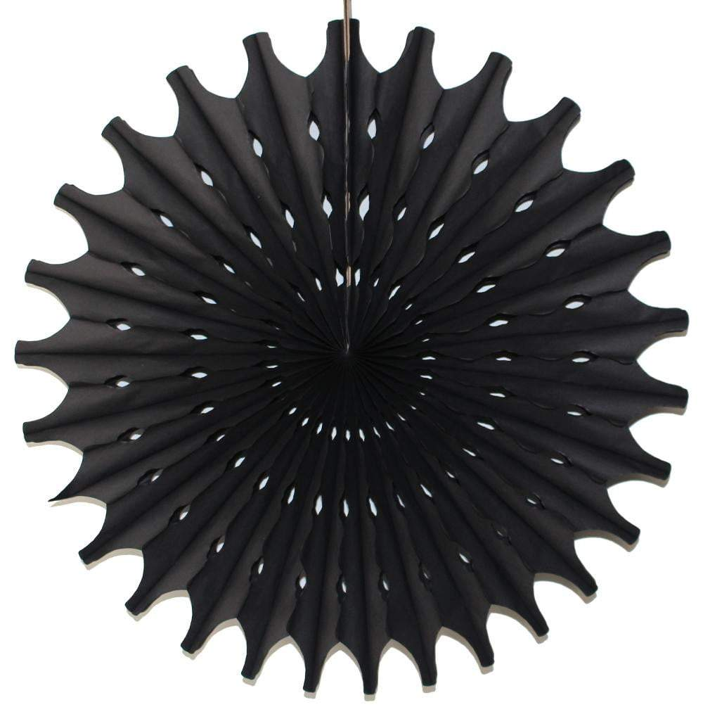 "18"" Black Tissue Paper Fan 