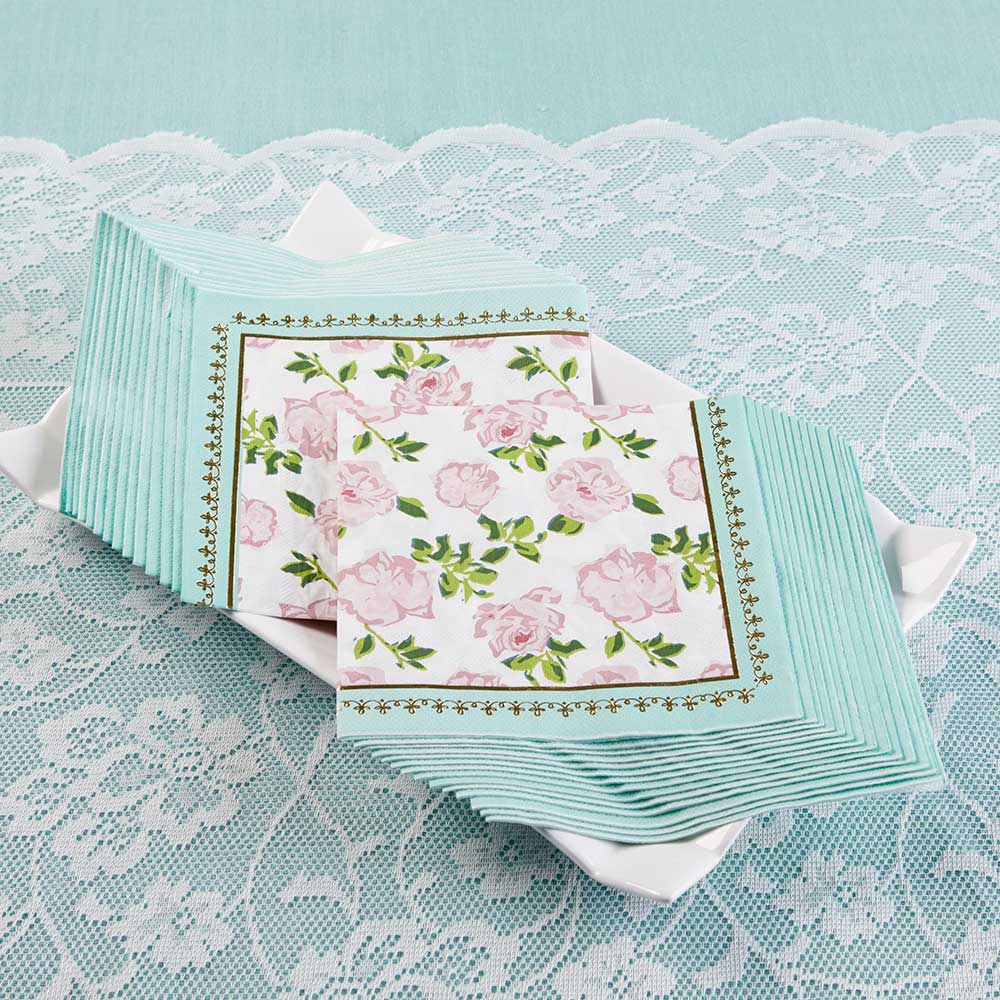 Blue Floral Tea Time Lunch Napkins 30ct | The Party Darling