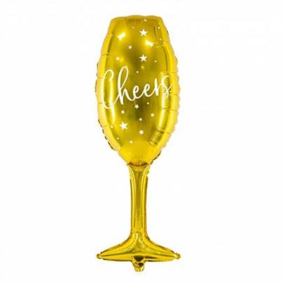 Gold Cheers Champagne Glass Balloon 31.5""