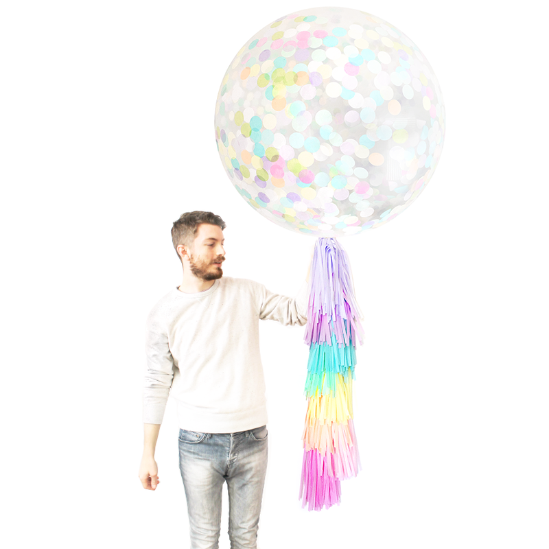 Pastel Rainbow Confetti Balloon w/ DIY Tassel Tail | The Party Darling