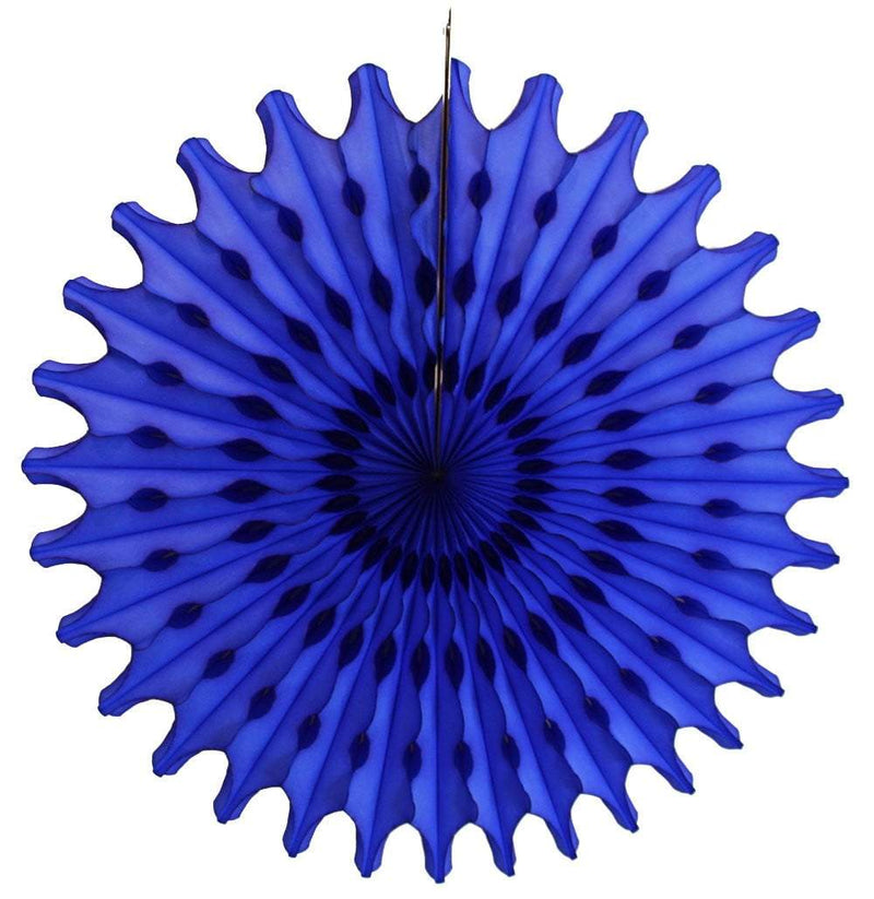 "18"" Blue Tissue Paper Fan 