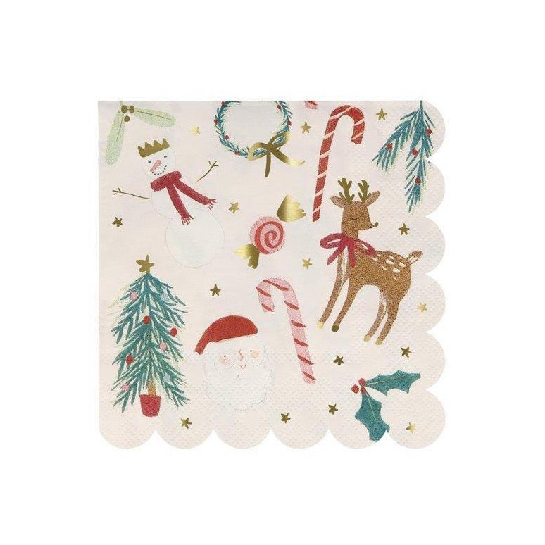 Festive Christmas Motif Beverage Napkins | The Party Darling
