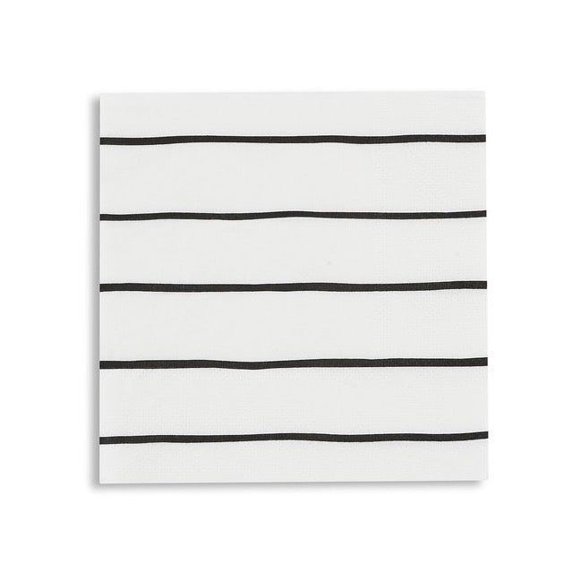 Frenchie Black Striped Cocktail Napkins | The Party Darling