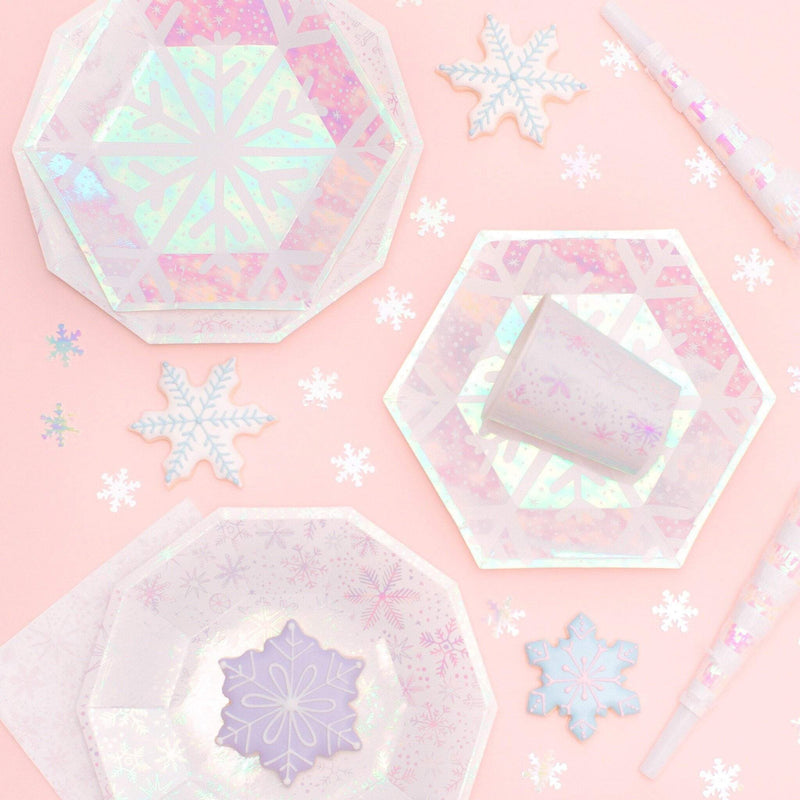 Frosted Iridescent Snowflake Lunch Paper Plates