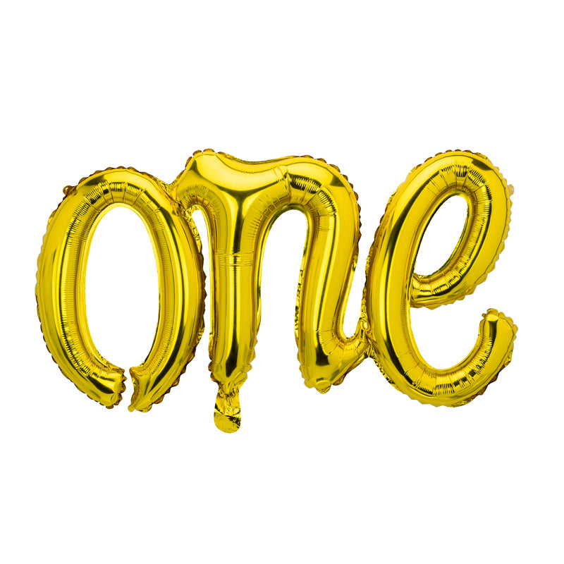 Gold One Script Foil Balloon | The Party Darling
