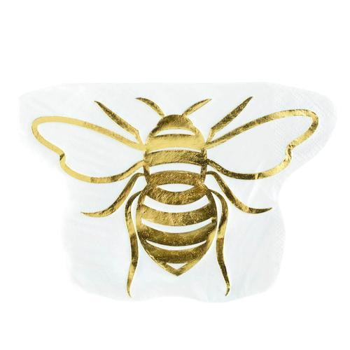 Gold Bee Shaped Cocktail Napkins