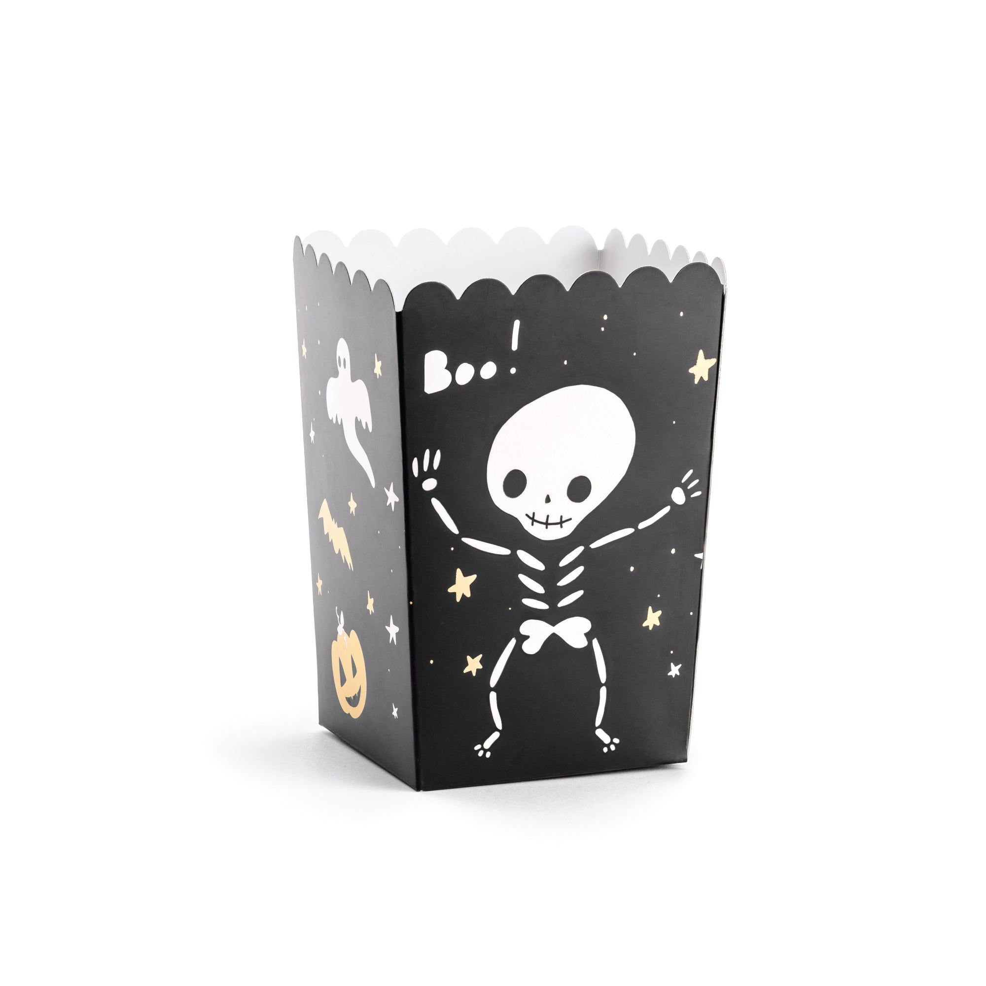 Black Halloween BOO Popcorn Boxes  Edit alt text