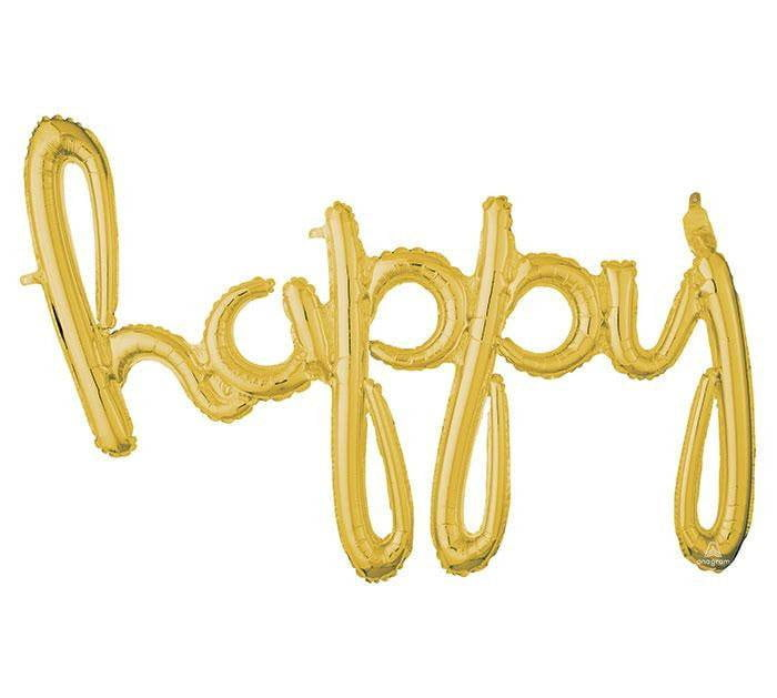 'Happy' Gold Script Balloon Phrase - The Party Darling