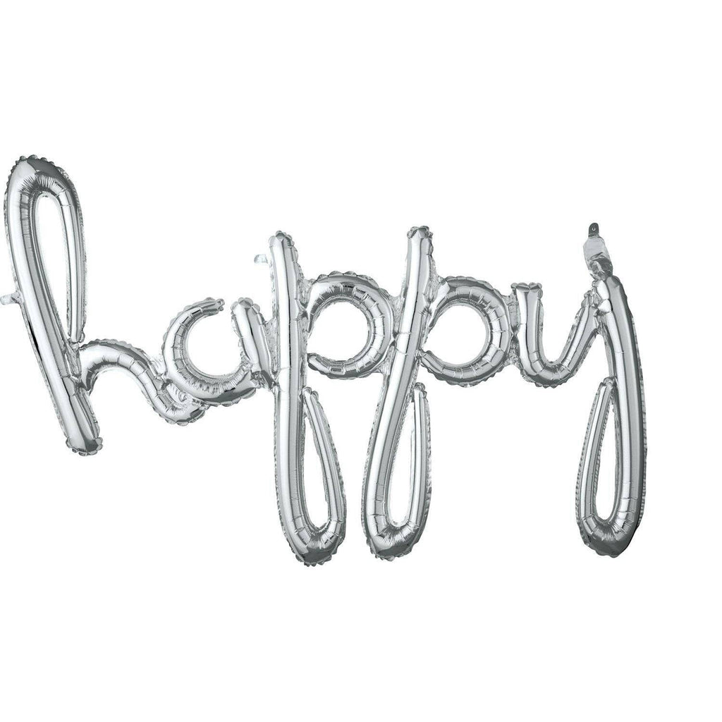 'Happy' Silver Script Balloon Phrase - The Party Darling