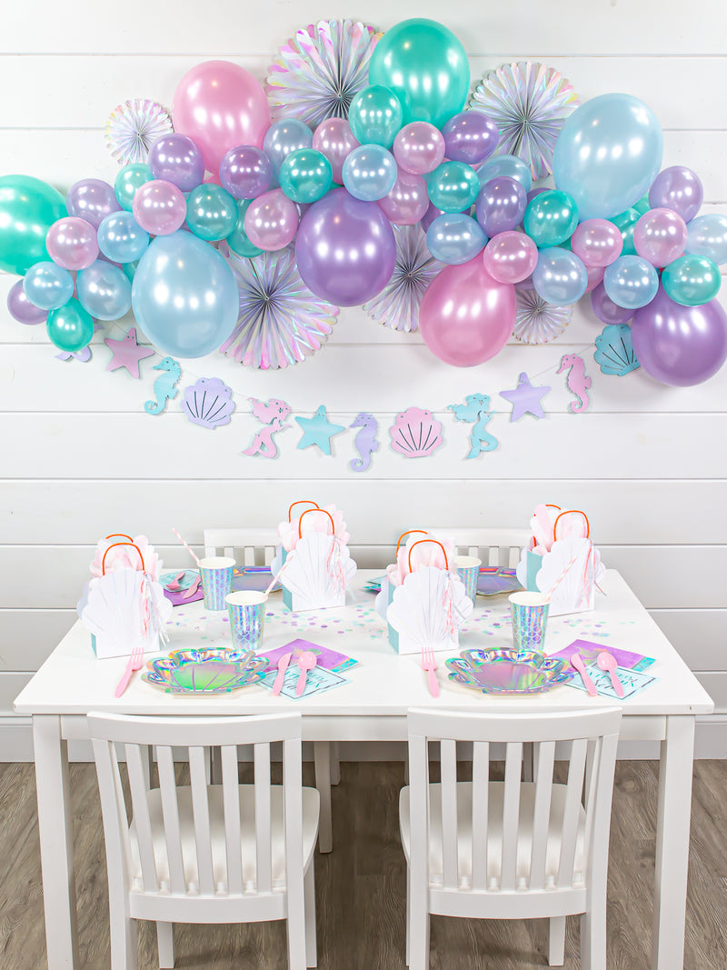 mermaid balloon garland backdrop
