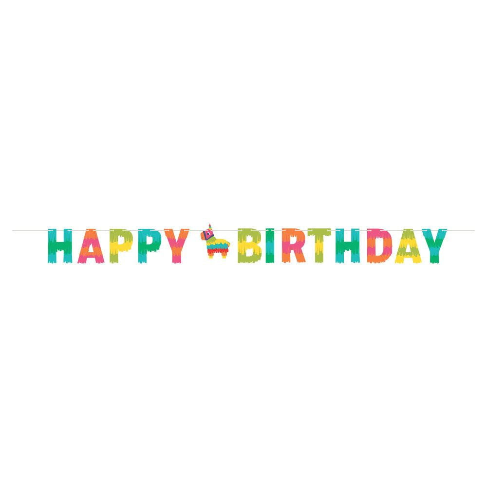 Fiesta Piñata Happy Birthday Banner 8ft