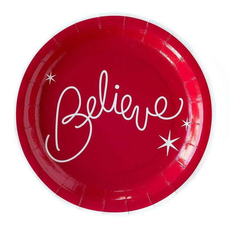 Believe Red Christmas Lunch Plates