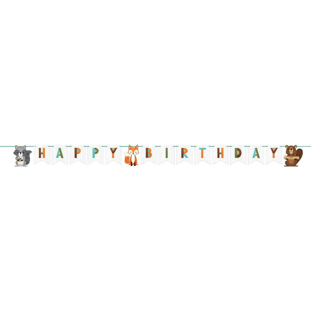 Wild One Woodland Happy Birthday Banner